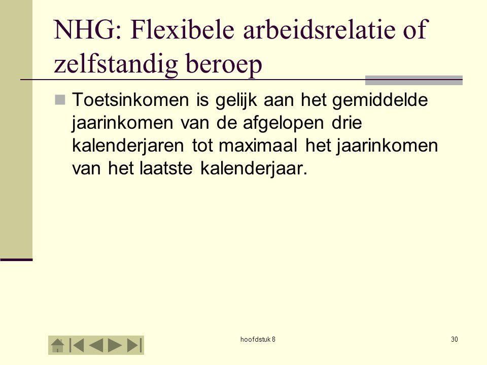 hoofdstuk 830 NHG: Flexibele arbeidsrelatie of zelfstandig beroep  Toetsinkomen is gelijk aan het gemiddelde jaarinkomen van de afgelopen drie kalenderjaren tot maximaal het jaarinkomen van het laatste kalenderjaar.