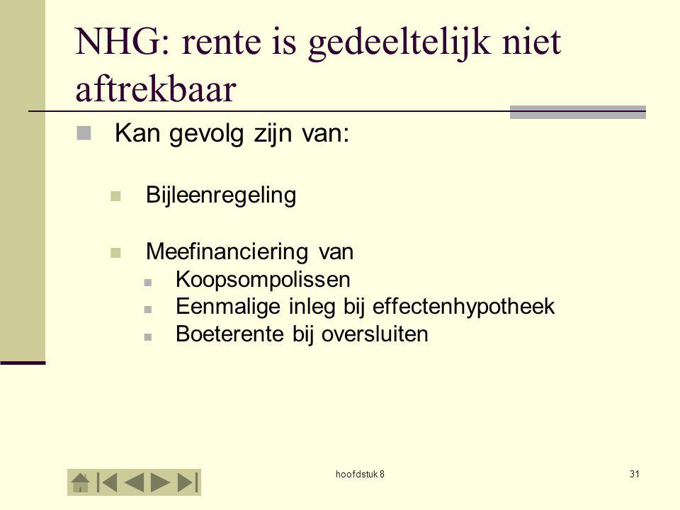 hoofdstuk 831 NHG: rente is gedeeltelijk niet aftrekbaar  Kan gevolg zijn van:  Bijleenregeling  Meefinanciering van  Koopsompolissen  Eenmalige inleg bij effectenhypotheek  Boeterente bij oversluiten