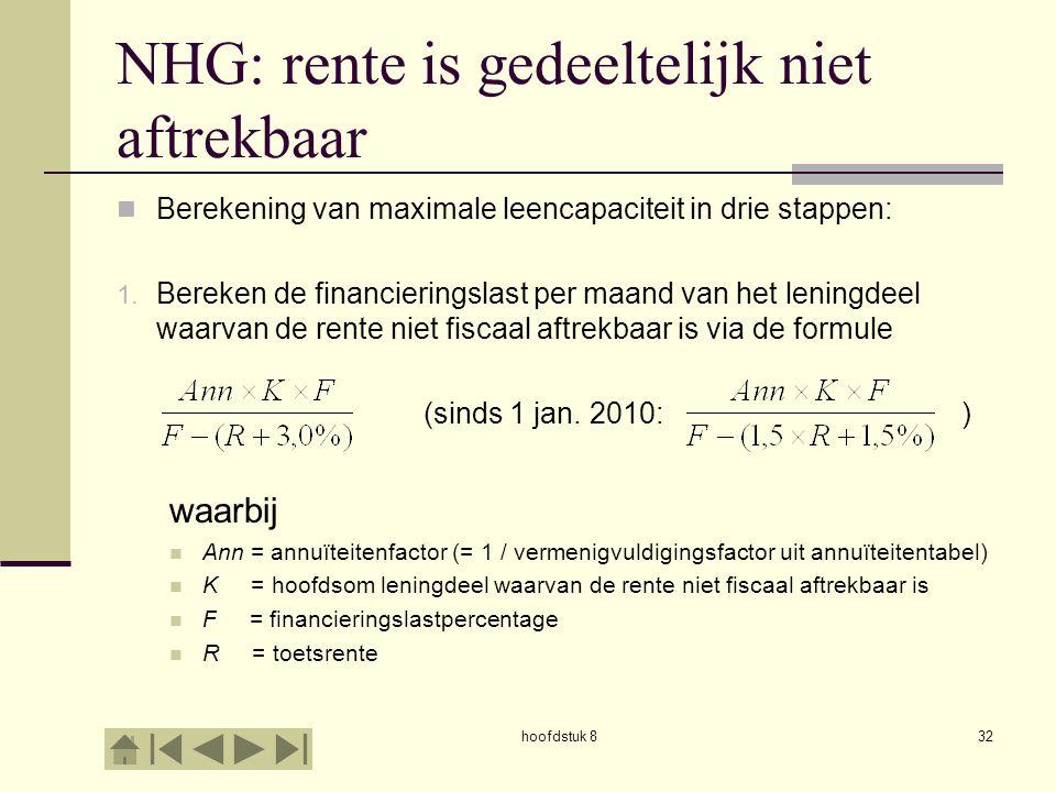 hoofdstuk 832 NHG: rente is gedeeltelijk niet aftrekbaar  Berekening van maximale leencapaciteit in drie stappen: 1.