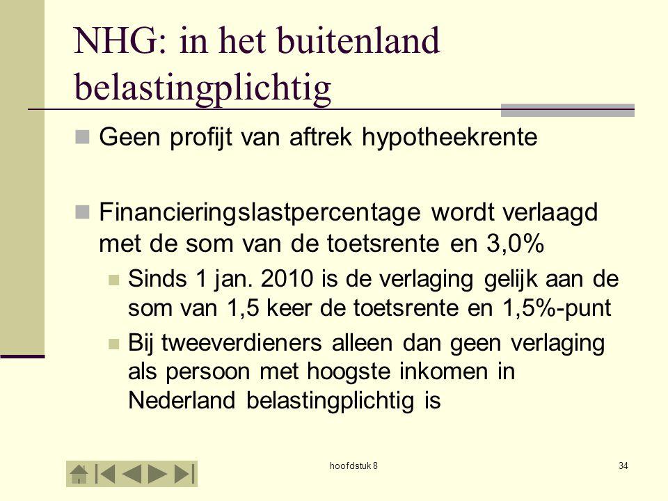 hoofdstuk 834 NHG: in het buitenland belastingplichtig  Geen profijt van aftrek hypotheekrente  Financieringslastpercentage wordt verlaagd met de som van de toetsrente en 3,0%  Sinds 1 jan.