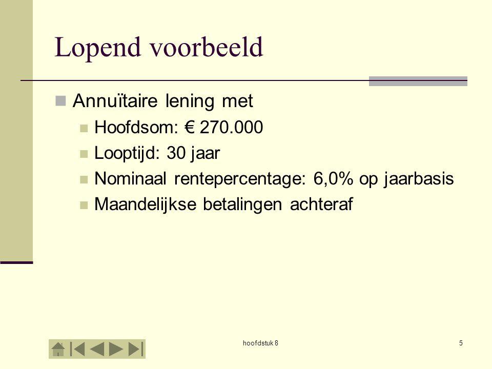 hoofdstuk 85 Lopend voorbeeld  Annuïtaire lening met  Hoofdsom: € 270.000  Looptijd: 30 jaar  Nominaal rentepercentage: 6,0% op jaarbasis  Maandelijkse betalingen achteraf