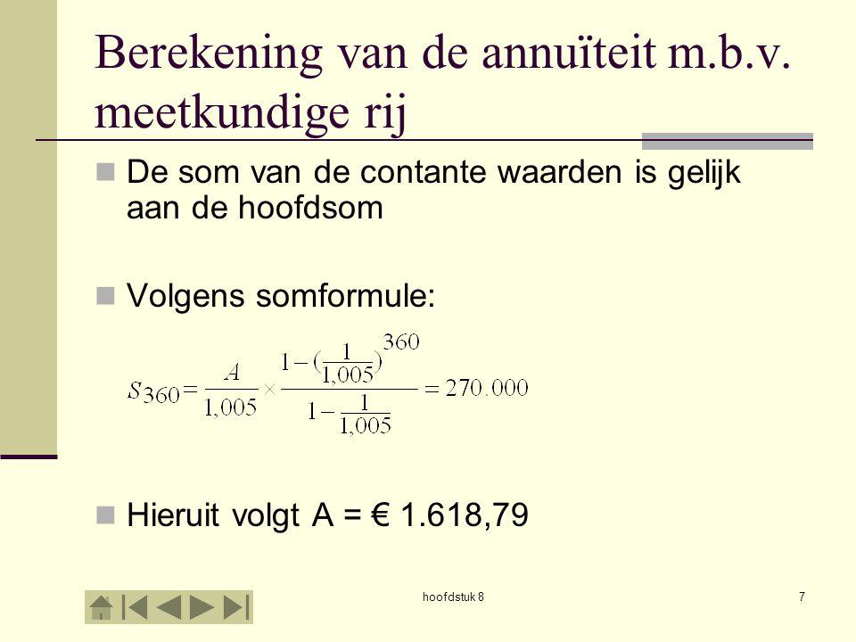hoofdstuk 87 Berekening van de annuïteit m.b.v.