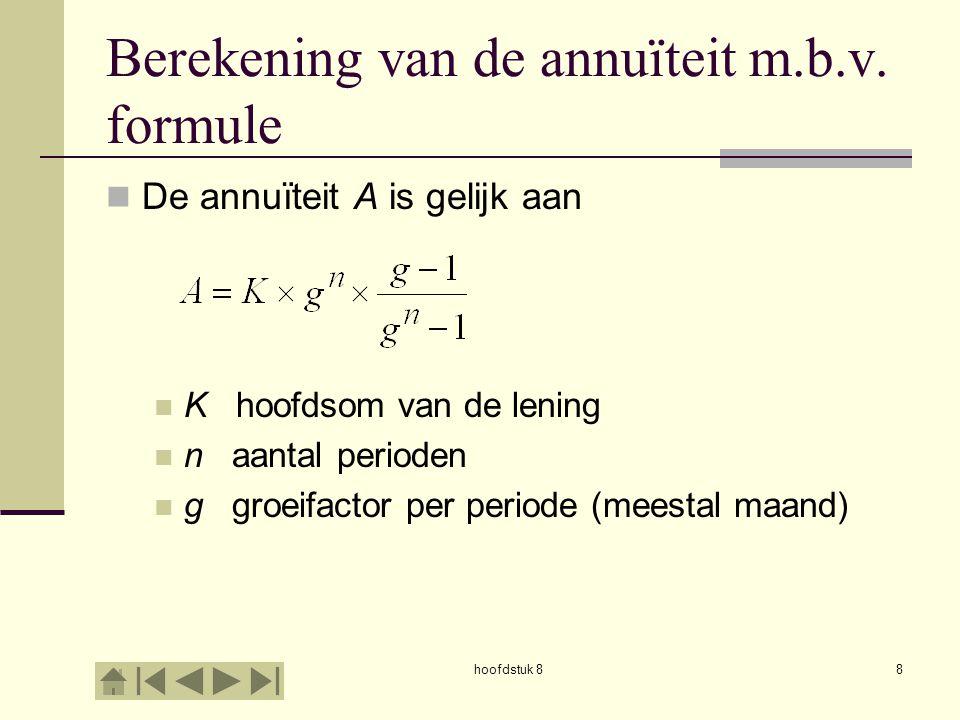 hoofdstuk 89 Berekening van de annuïteit m.b.v.