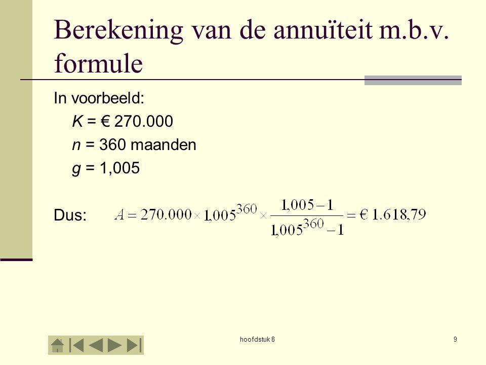 hoofdstuk 810 Berekening van de annuïteit m.b.v.