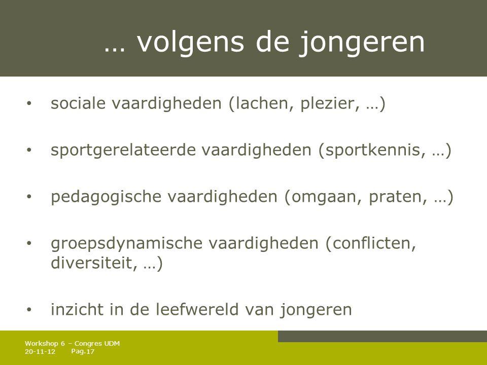 Pag. … volgens de jongeren • sociale vaardigheden (lachen, plezier, …) • sportgerelateerde vaardigheden (sportkennis, …) • pedagogische vaardigheden (