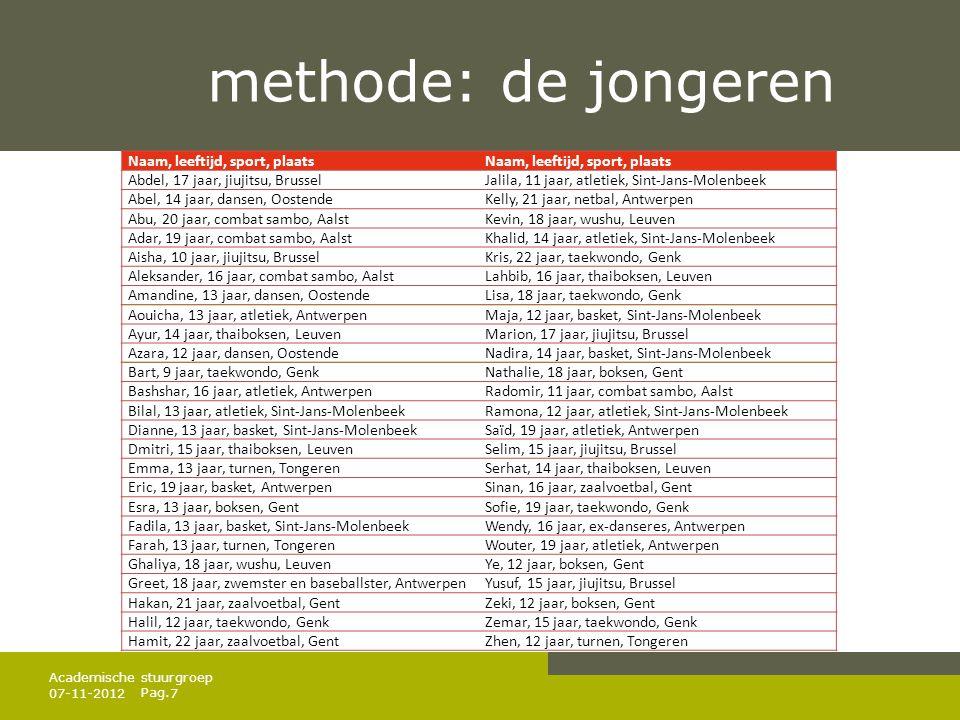 Pag. methode: de jongeren 07-11-20127 Academische stuurgroep Naam, leeftijd, sport, plaats Abdel, 17 jaar, jiujitsu, BrusselJalila, 11 jaar, atletiek,