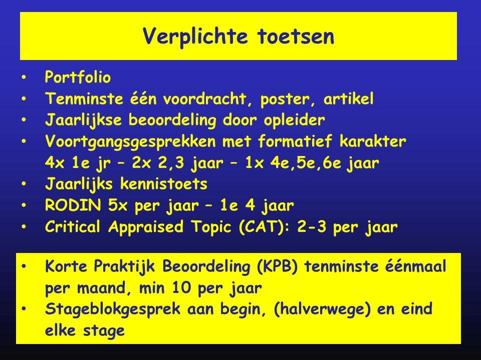 Verplichte toetsen • Portfolio • Tenminste één voordracht, poster, artikel • Jaarlijkse beoordeling door opleider • Voortgangsgesprekken met formatief