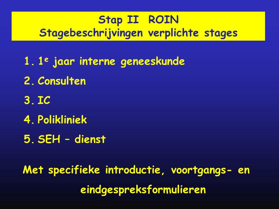 1.1 e jaar interne geneeskunde 2.Consulten 3.IC 4.Polikliniek 5.SEH – dienst Stap II ROIN Stagebeschrijvingen verplichte stages Met specifieke introdu