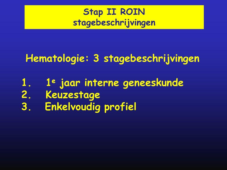 Hematologie: 3 stagebeschrijvingen 1. 1 e jaar interne geneeskunde 2. Keuzestage 3. Enkelvoudig profiel Stap II ROIN stagebeschrijvingen