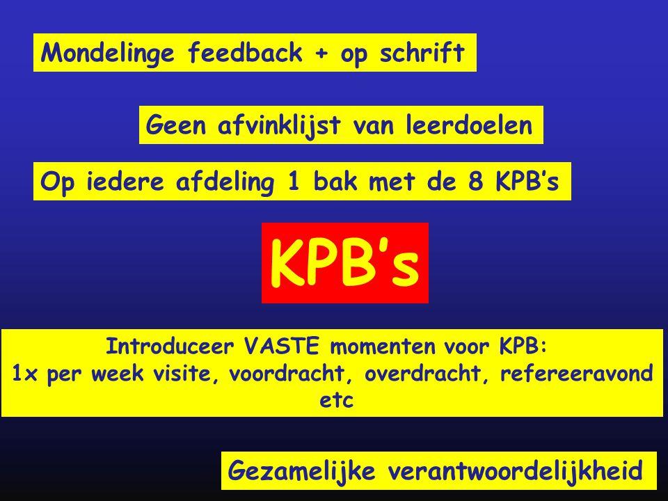 Mondelinge feedback + op schrift Geen afvinklijst van leerdoelen Introduceer VASTE momenten voor KPB: 1x per week visite, voordracht, overdracht, refe