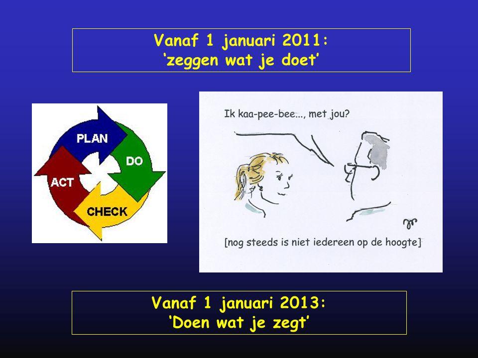 Vanaf 1 januari 2011: 'zeggen wat je doet' Vanaf 1 januari 2013: 'Doen wat je zegt'