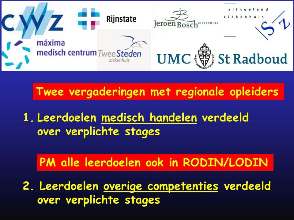 1.Leerdoelen medisch handelen verdeeld over verplichte stages 2. Leerdoelen overige competenties verdeeld over verplichte stages Twee vergaderingen me