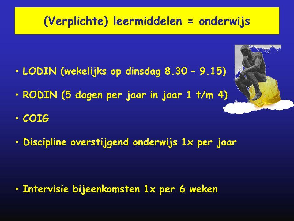(Verplichte) leermiddelen = onderwijs • LODIN (wekelijks op dinsdag 8.30 – 9.15) • RODIN (5 dagen per jaar in jaar 1 t/m 4) • COIG • Discipline overst