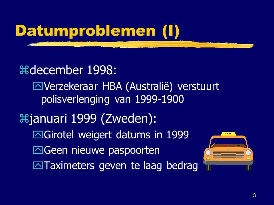3 Datumproblemen (I) zjanuari 1999 (Zweden): yGirotel weigert datums in 1999 yGeen nieuwe paspoorten yTaximeters geven te laag bedrag zdecember 1998: yVerzekeraar HBA (Australië) verstuurt polisverlenging van 1999-1900