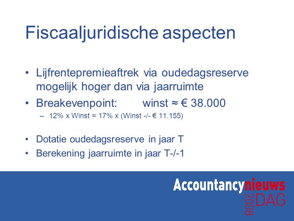 Fiscaaljuridische aspecten •Lijfrentepremieaftrek via oudedagsreserve mogelijk hoger dan via jaarruimte •Breakevenpoint:winst ≈ € 38.000 –12% x Winst