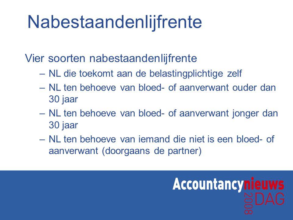Nabestaandenlijfrente Vier soorten nabestaandenlijfrente – NL die toekomt aan de belastingplichtige zelf – NL ten behoeve van bloed- of aanverwant oud