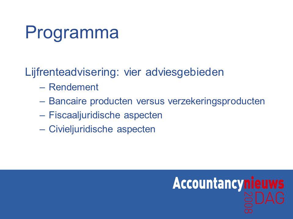 Programma Lijfrenteadvisering: vier adviesgebieden –Rendement –Bancaire producten versus verzekeringsproducten –Fiscaaljuridische aspecten –Civieljuri