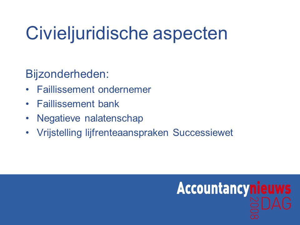 Civieljuridische aspecten Bijzonderheden: •Faillissement ondernemer •Faillissement bank •Negatieve nalatenschap •Vrijstelling lijfrenteaanspraken Succ
