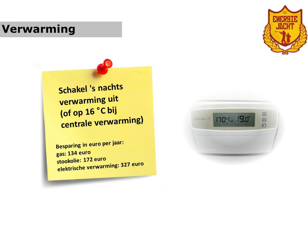Verwarming Niet aanwezig = verwarming uit (of lager) Besparing in euro per jaar: gas: 24 euro stookolie: 31 euro elektrische verwarming: 58 euro