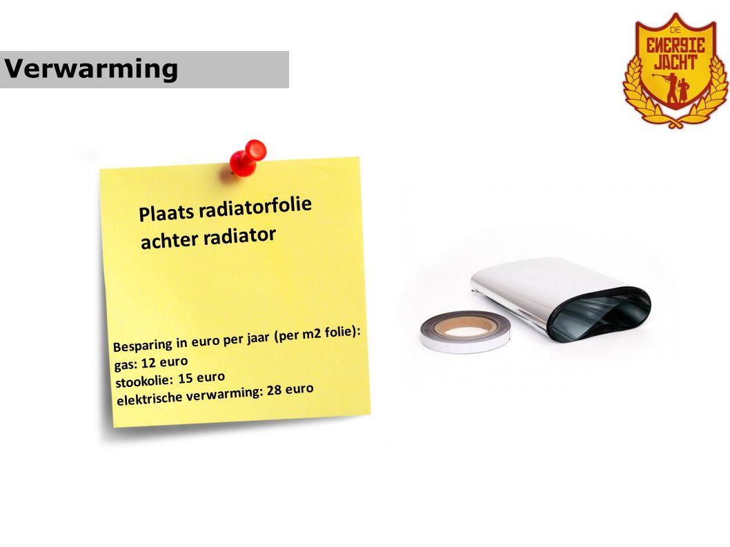 Verwarming Plaats radiatorfolie achter radiator Besparing in euro per jaar (per m2 folie): gas: 12 euro stookolie: 15 euro elektrische verwarming: 28