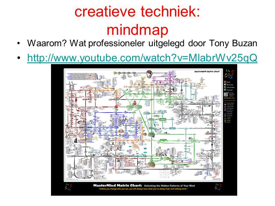 creatieve techniek: mindmap •Waarom? Wat professioneler uitgelegd door Tony Buzan •http://www.youtube.com/watch?v=MlabrWv25qQhttp://www.youtube.com/wa