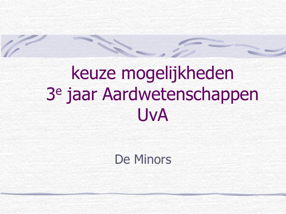 keuze mogelijkheden 3 e jaar Aardwetenschappen UvA De Minors