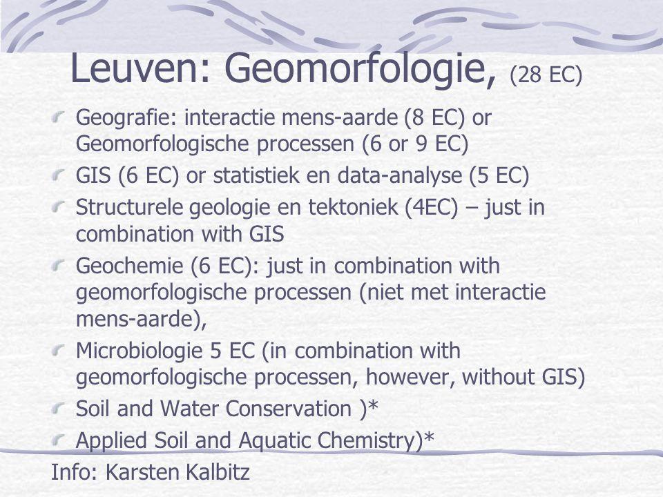 Leuven: Geomorfologie, (28 EC) Geografie: interactie mens-aarde (8 EC) or Geomorfologische processen (6 or 9 EC) GIS (6 EC) or statistiek en data-anal