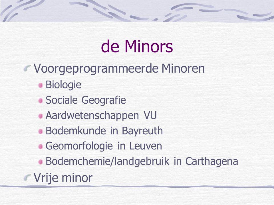 de Minors Voorgeprogrammeerde Minoren Biologie Sociale Geografie Aardwetenschappen VU Bodemkunde in Bayreuth Geomorfologie in Leuven Bodemchemie/landg