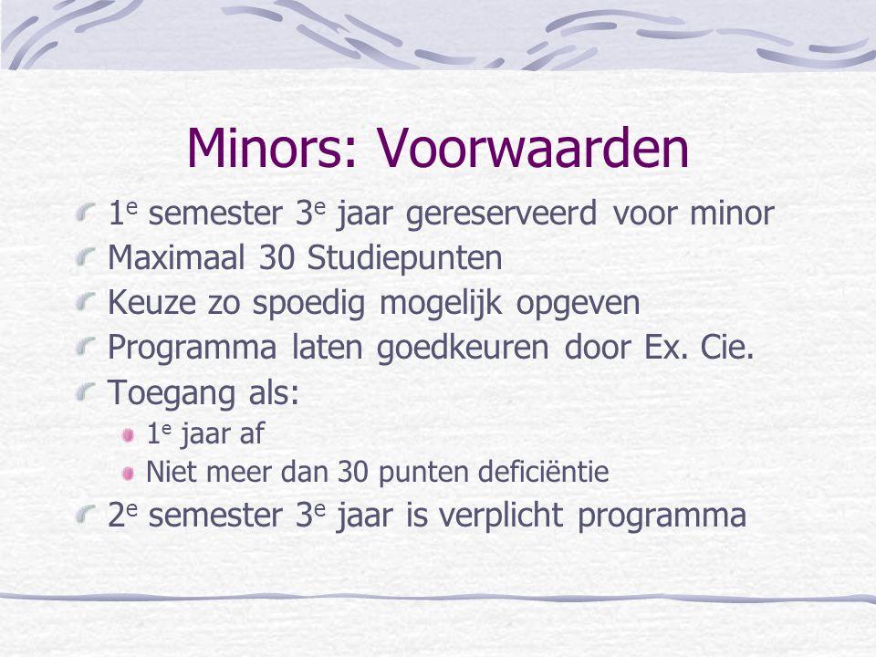 Minors: Voorwaarden 1 e semester 3 e jaar gereserveerd voor minor Maximaal 30 Studiepunten Keuze zo spoedig mogelijk opgeven Programma laten goedkeure
