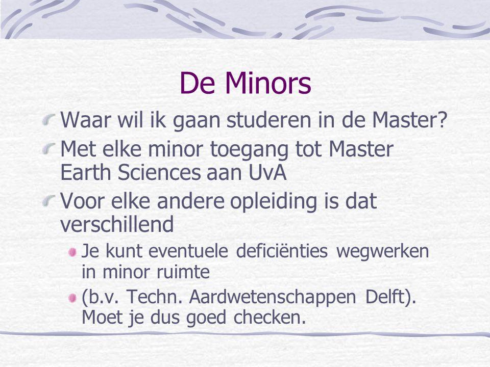 De Minors Waar wil ik gaan studeren in de Master? Met elke minor toegang tot Master Earth Sciences aan UvA Voor elke andere opleiding is dat verschill