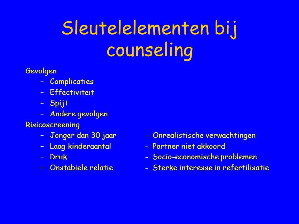 Sleutelelementen bij counseling Gevolgen –Complicaties –Effectiviteit –Spijt –Andere gevolgen Risicoscreening –Jonger dan 30 jaar - Onrealistische ver