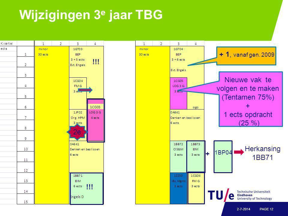 Wijzigingen 3 e jaar TBG PAGE 122-7-2014 + 1, vanaf gen.