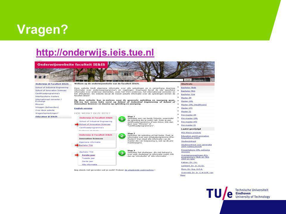 Vragen http://onderwijs.ieis.tue.nl