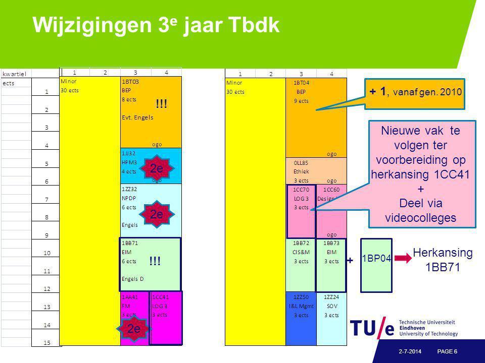Wijzigingen 3 e jaar Tbdk PAGE 62-7-2014 + 1, vanaf gen.