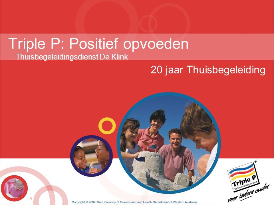 1 Triple P: Positief opvoeden Thuisbegeleidingsdienst De Klink 20 jaar Thuisbegeleiding