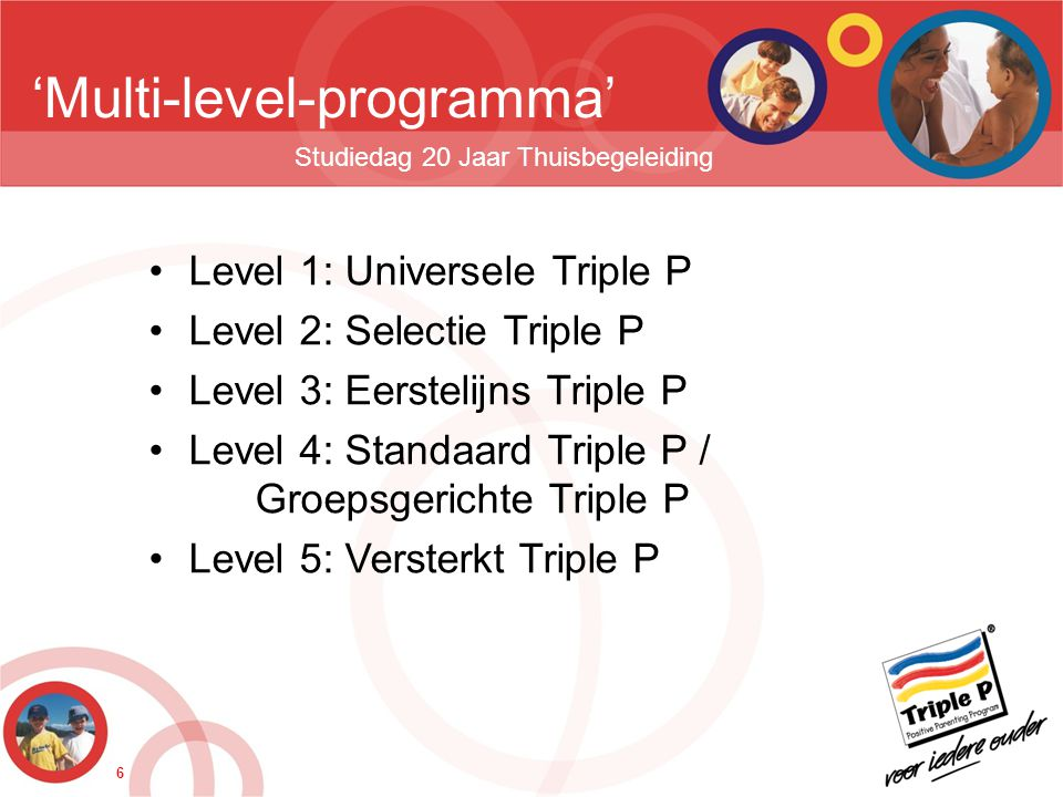 6 'Multi-level-programma' Studiedag 20 Jaar Thuisbegeleiding •Level 1: Universele Triple P •Level 2: Selectie Triple P •Level 3: Eerstelijns Triple P