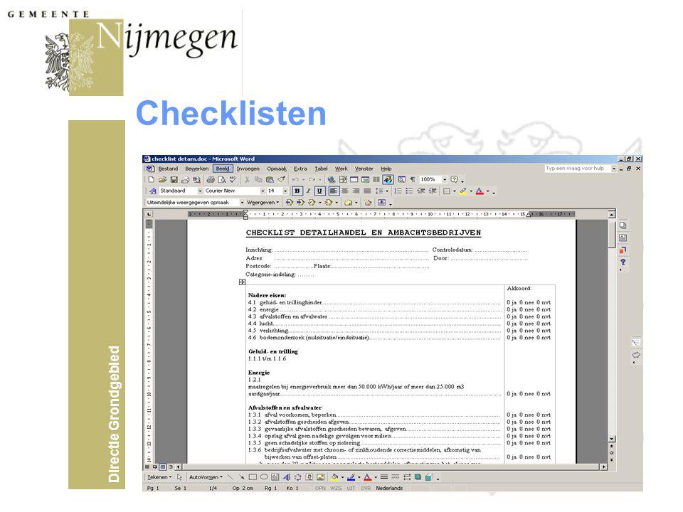 Directie Grondgebied Checklisten