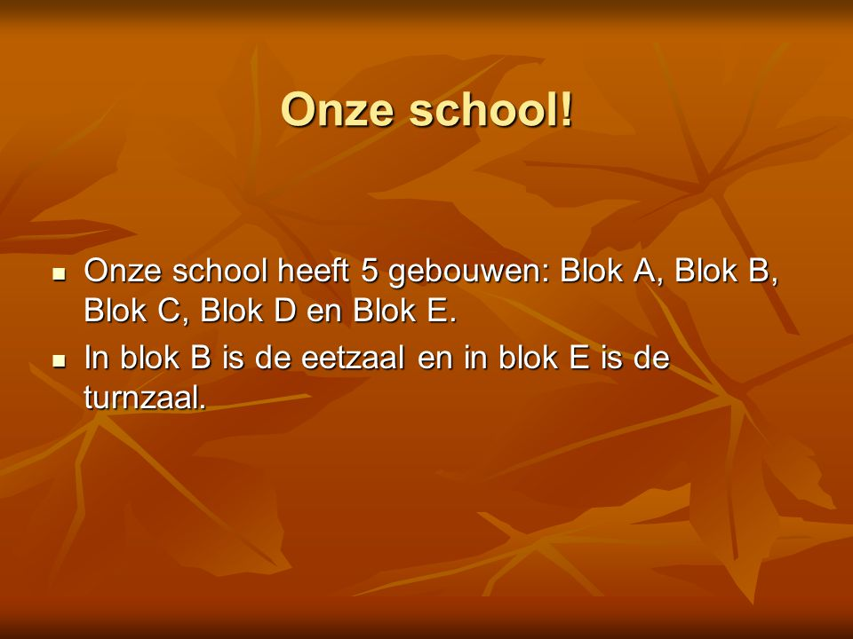 Onze school!  Onze school heeft 5 gebouwen: Blok A, Blok B, Blok C, Blok D en Blok E.  In blok B is de eetzaal en in blok E is de turnzaal.