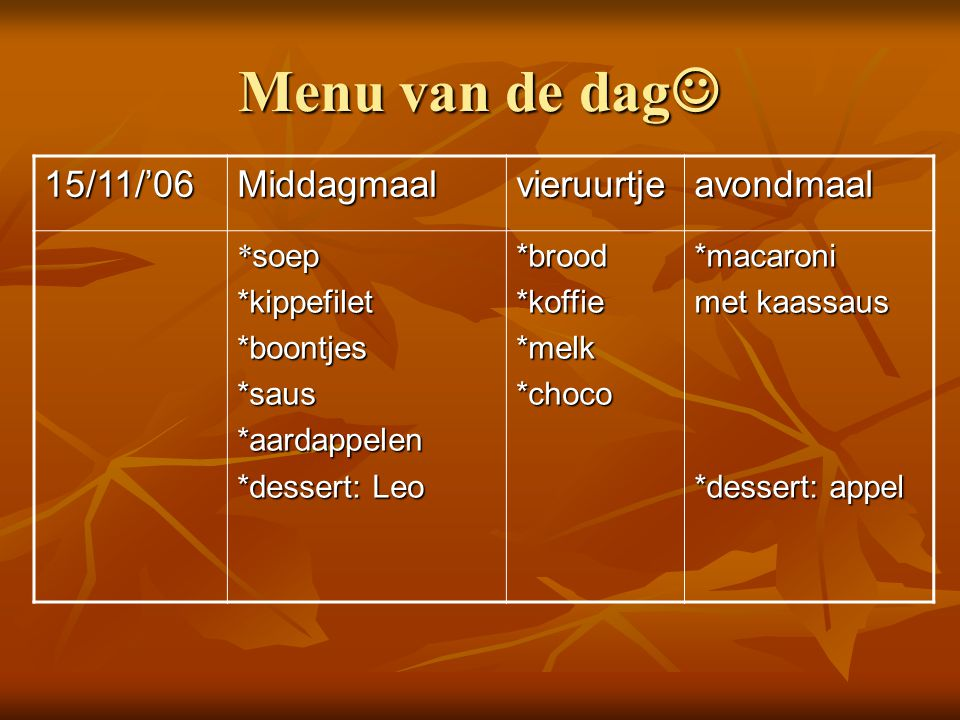 Menu van de dag  15/11/'06Middagmaalvieruurtjeavondmaal * soep *kippefilet*boontjes*saus*aardappelen *dessert: Leo *brood*koffie*melk*choco*macaroni