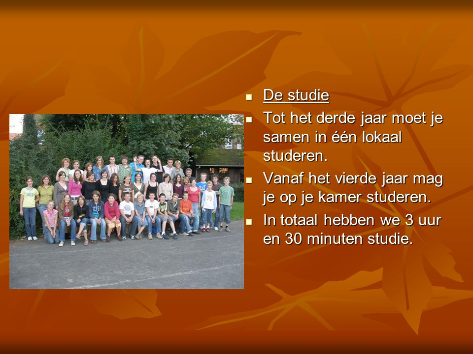  De studie  Tot het derde jaar moet je samen in één lokaal studeren.  Vanaf het vierde jaar mag je op je kamer studeren.  In totaal hebben we 3 uu
