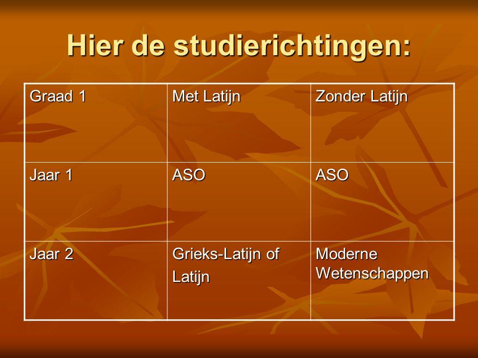 Hier de studierichtingen: Graad 1 Met Latijn Zonder Latijn Jaar 1 ASOASO Jaar 2 Grieks-Latijn of Latijn Moderne Wetenschappen