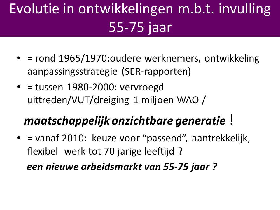 • = rond 1965/1970:oudere werknemers, ontwikkeling aanpassingsstrategie (SER-rapporten) • = tussen 1980-2000: vervroegd uittreden/VUT/dreiging 1 miljoen WAO / maatschappelijk onzichtbare generatie .
