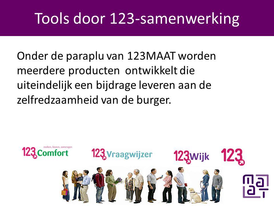 Programma Tools door 123-samenwerking Wijk Onder de paraplu van 123MAAT worden meerdere producten ontwikkelt die uiteindelijk een bijdrage leveren aan de zelfredzaamheid van de burger.