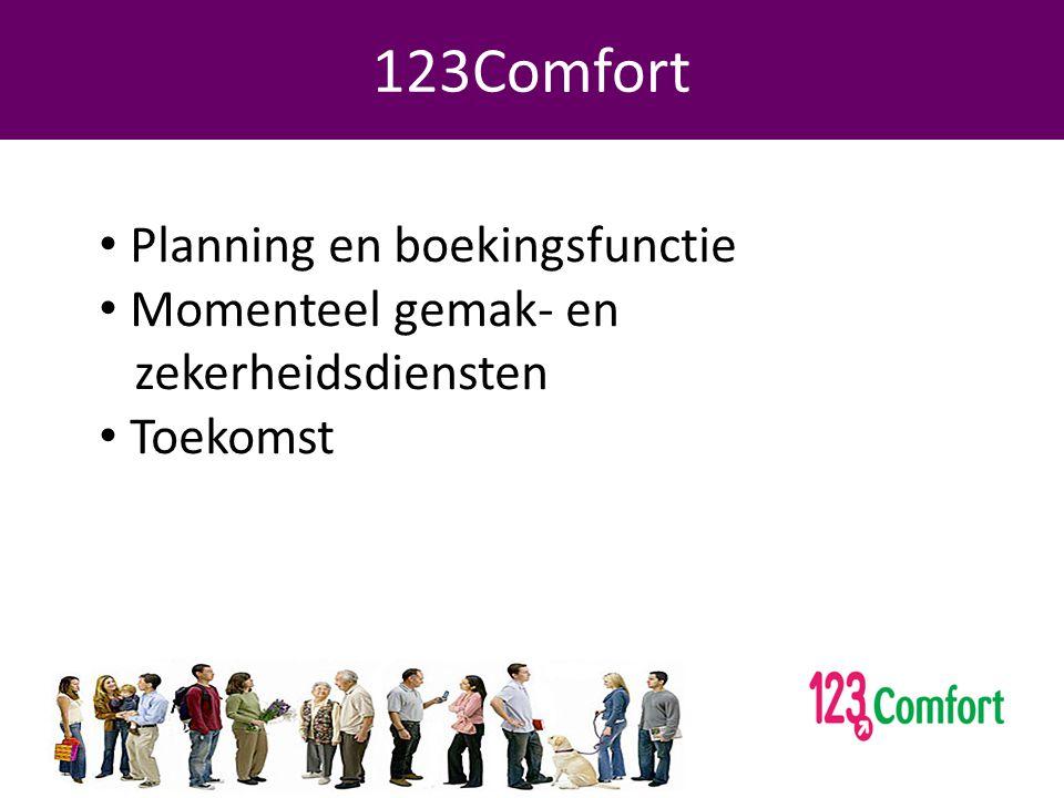 Programma 123Comfort • Planning en boekingsfunctie • Momenteel gemak- en zekerheidsdiensten • Toekomst