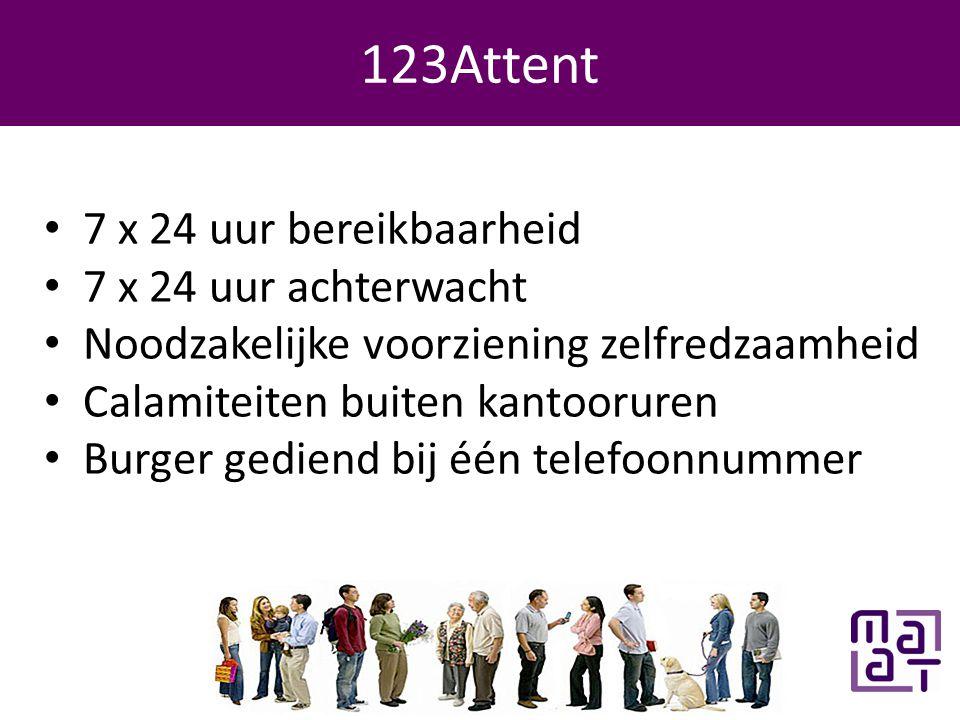 Programma 123Attent • 7 x 24 uur bereikbaarheid • 7 x 24 uur achterwacht • Noodzakelijke voorziening zelfredzaamheid • Calamiteiten buiten kantooruren • Burger gediend bij één telefoonnummer