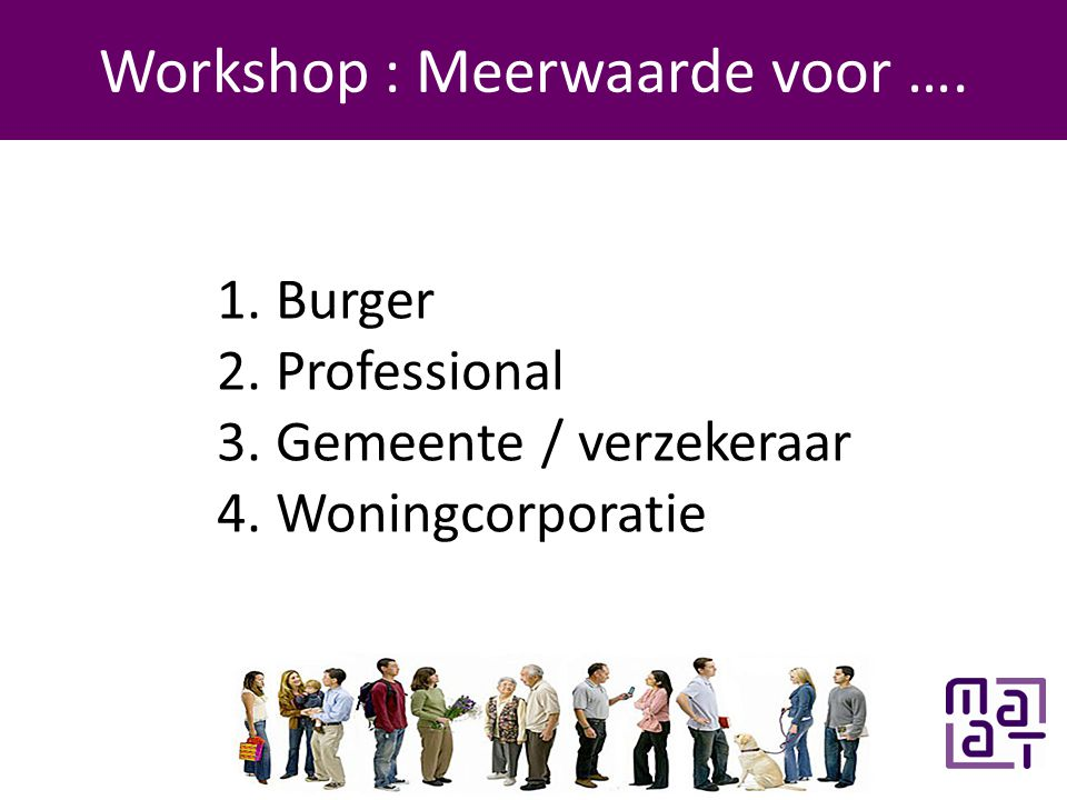 Programma Workshop : Meerwaarde voor …. 1. Burger 2.