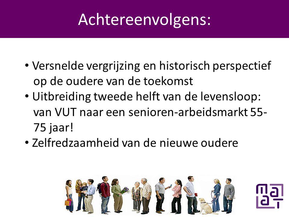 Programma Achtereenvolgens: • Versnelde vergrijzing en historisch perspectief op de oudere van de toekomst • Uitbreiding tweede helft van de levensloop: van VUT naar een senioren-arbeidsmarkt 55- 75 jaar.