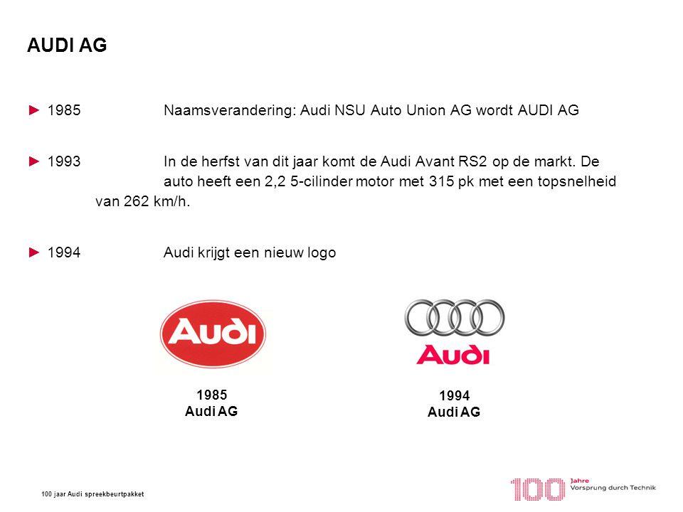 100 jaar Audi spreekbeurtpakket AUDI AG ►1985Naamsverandering: Audi NSU Auto Union AG wordt AUDI AG ►1993In de herfst van dit jaar komt de Audi Avant