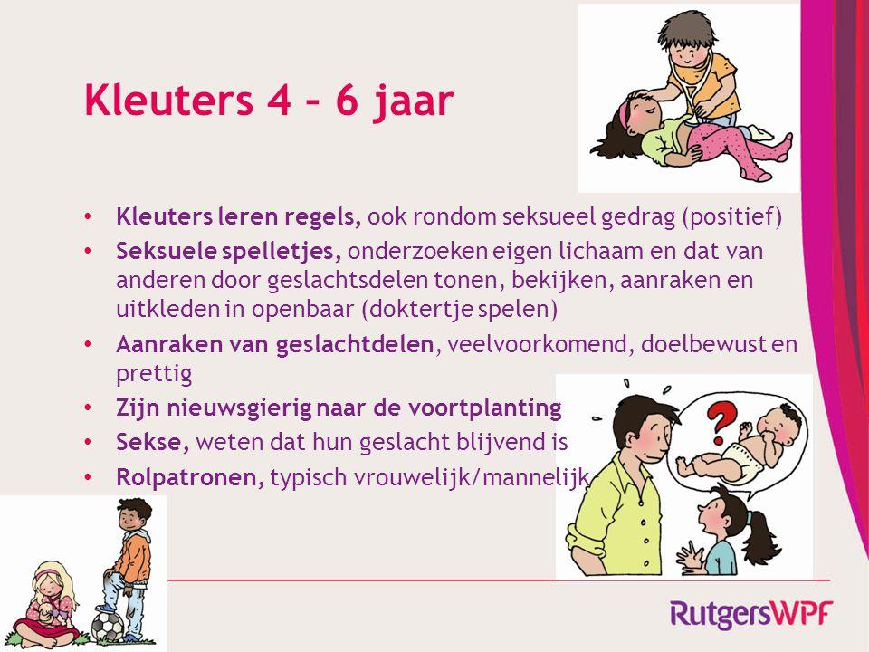 Kleuters 4 – 6 jaar • Kleuters leren regels, ook rondom seksueel gedrag (positief) • Seksuele spelletjes, onderzoeken eigen lichaam en dat van anderen