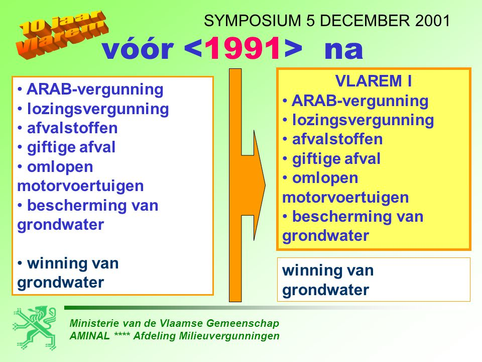 Ministerie van de Vlaamse Gemeenschap AMINAL **** Afdeling Milieuvergunningen SYMPOSIUM 5 DECEMBER 2001 • ARAB-vergunning • lozingsvergunning • afvalstoffen • giftige afval • omlopen motorvoertuigen • bescherming van grondwater • winning van grondwater vóór na VLAREM I • ARAB-vergunning • lozingsvergunning • afvalstoffen • giftige afval • omlopen motorvoertuigen • bescherming van grondwater winning van grondwater